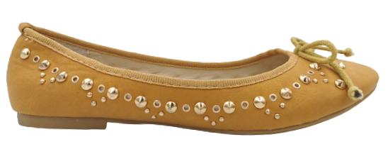 Baleriny damskie W2276 brązowe z kokardką 37