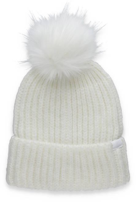 Czapka damska 4F CAD007 zimowa biała z pomponem