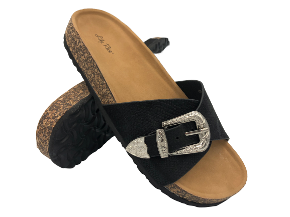 Klapki damskie obuwie wsuwane czarne 6248-1
