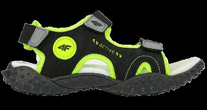 Sandały chłopięce 4F JSAM001 czarno-zielone