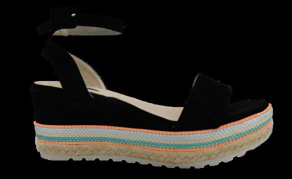Sandały damskie na koturnie czarne 6095-1