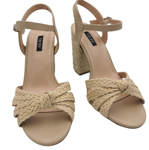 Sandały damskie na słupku beżowe plecione 9257-14
