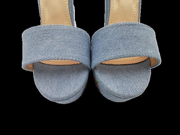 Sandały niebieskie jeansowe na słupku 1252-11