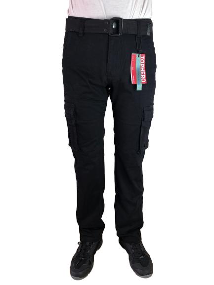 Spodnie męskie bojówki myśliwskie czarne D1672
