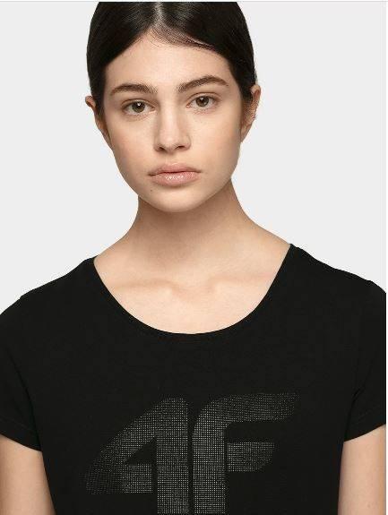 T-shirt damski 4F TSD005 bawełniany czarny