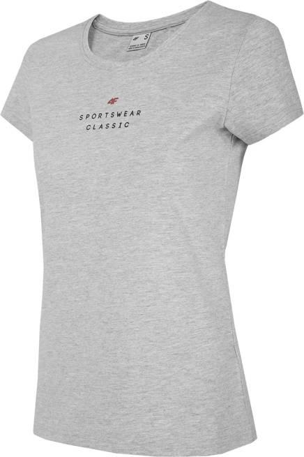 T-shirt damski 4F TSD018 bawełniany szary