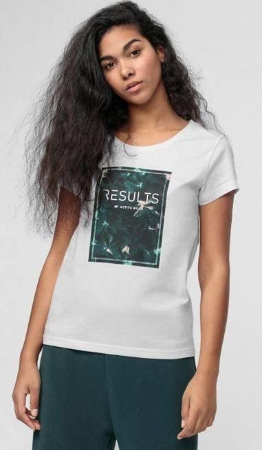 T-shirt damski 4F TSD031 bawełniany BIAŁY