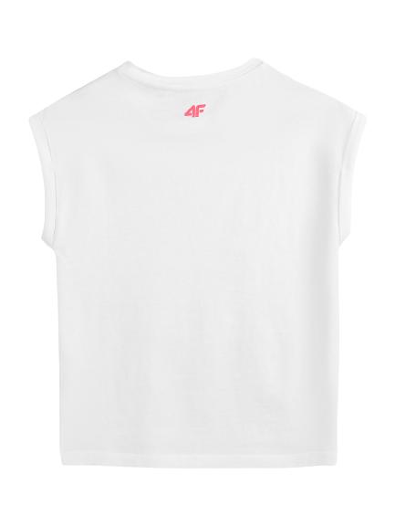 T-shirt dziecięcy 4F JTSD009 biały bawełniany