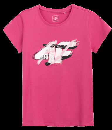 T-shirt dziewczęcy 4F JTSD002 bawełniany róż
