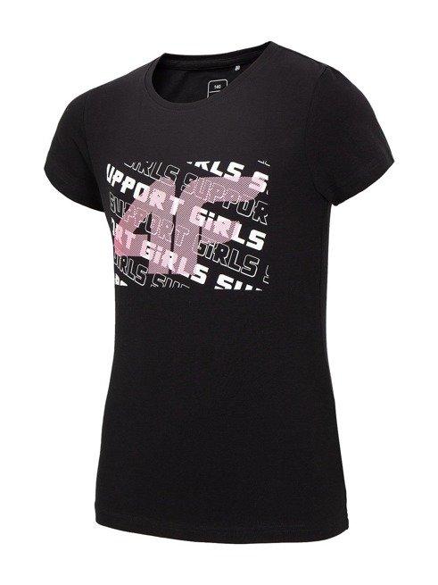 T-shirt dziewczęcy 4F JTSD003A CZARNY