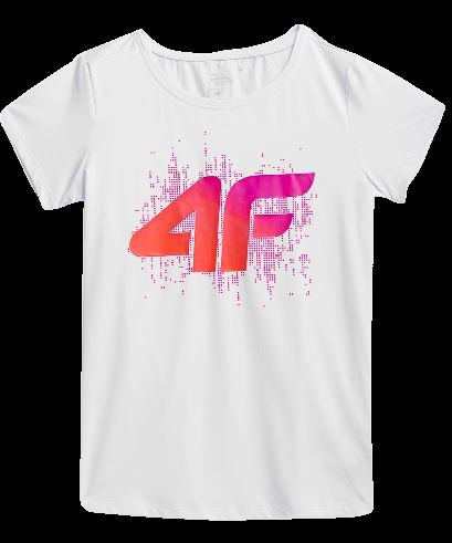 T-shirt dziewczęcy 4F JTSD010 biały fitness