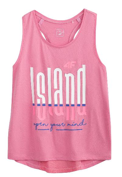T-shirt dziewczęcy 4F JTSD010 bokserka różowa