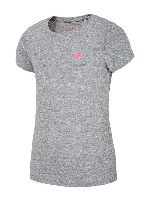 T-shirt dziewczęcy 4F JTSD012A SZARY MELANŻ