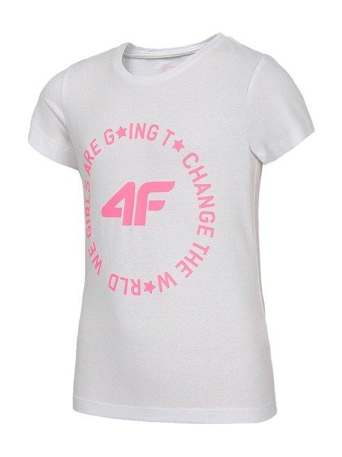 T-shirt dziewczęcy 4F JTSD013A BIAŁY