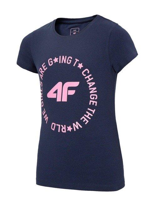 T-shirt dziewczęcy 4F JTSD013B GRANAT