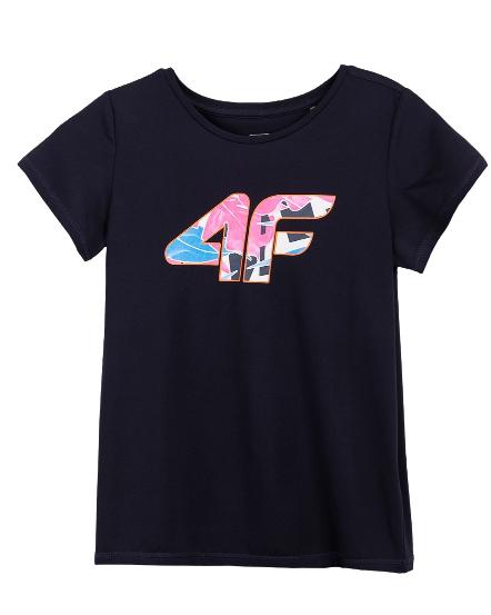 T-shirt dziewczęcy 4F JTSD015A granat fitness