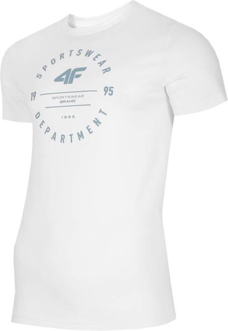 T-shirt męski 4F TSM030 biały bawełna