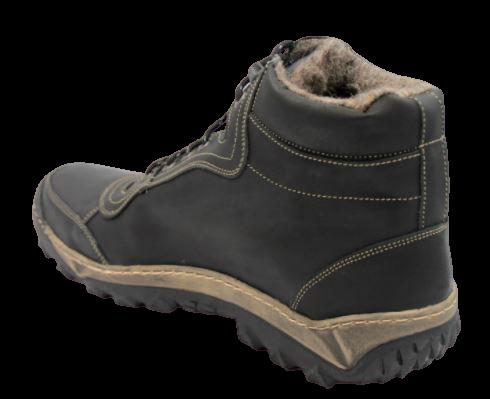 Trapery zimowe 104 buty wysokie skórzane czarne